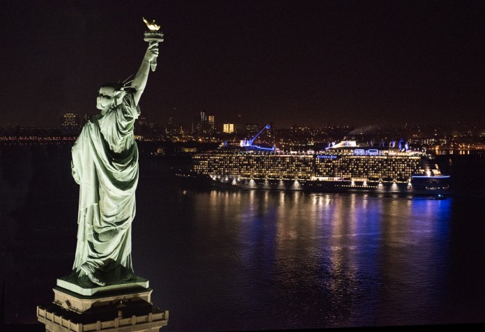 Statue of Liberty watches Anthem of the Seas arriving