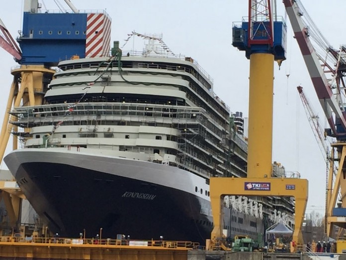 MS Koningsdam coming together, nearly ready.