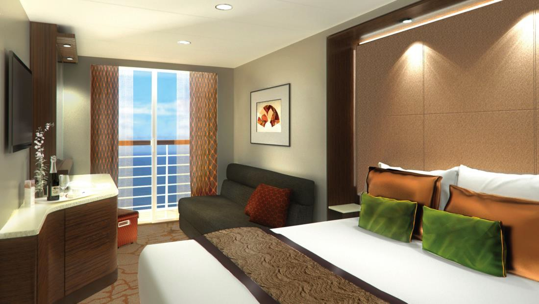 A rendering of one of the balcony staterooms on Genting Dream.