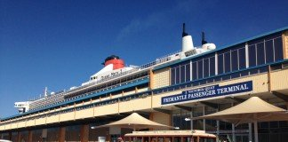 Queen Mary 2 docked at Fremantle Cruise Terminal in Perth, Western Australia.
