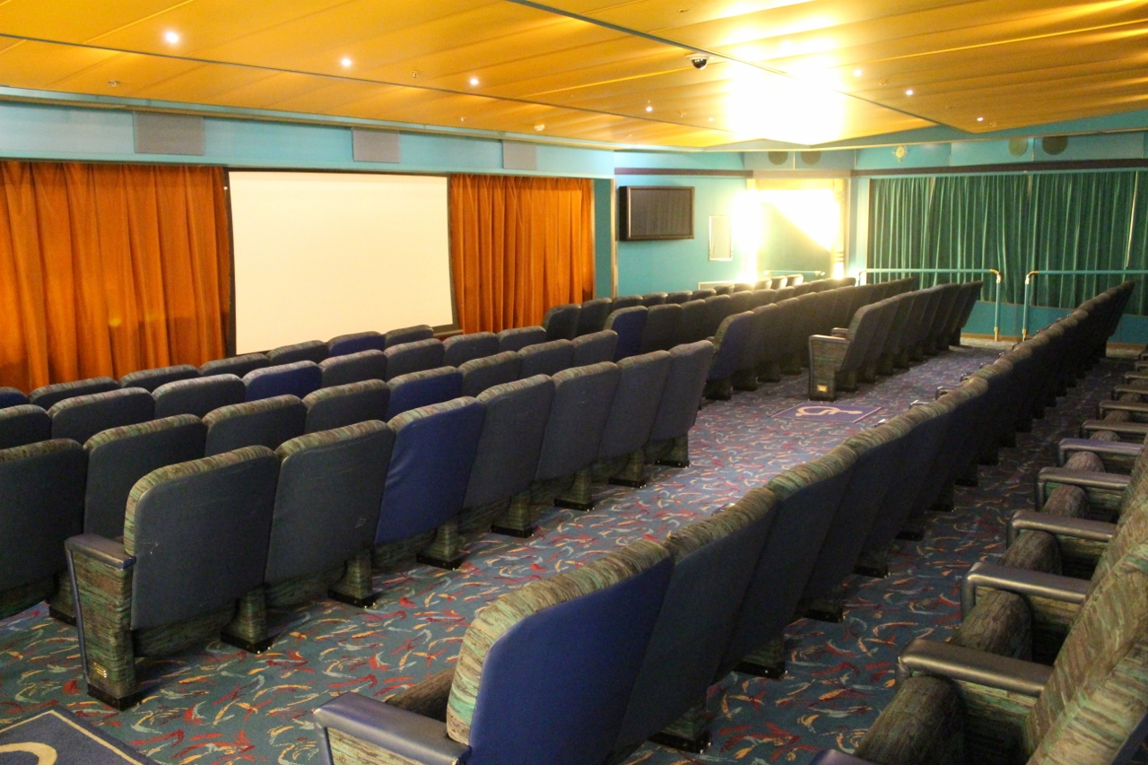 A remnant of Pacific Aria from its days with Holland America Line days is the enormous cinema.