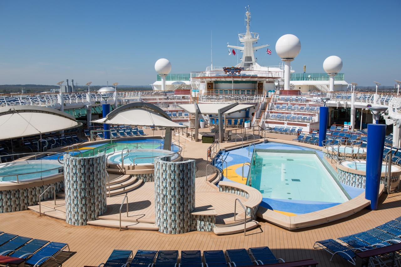 Explorer of the Seas' pool deck features only misters, not showers.