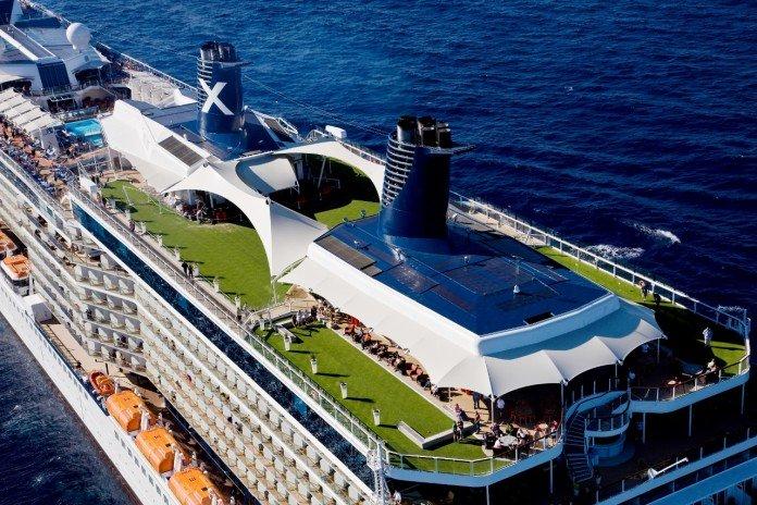An aerial shot of Celebrity Solstice