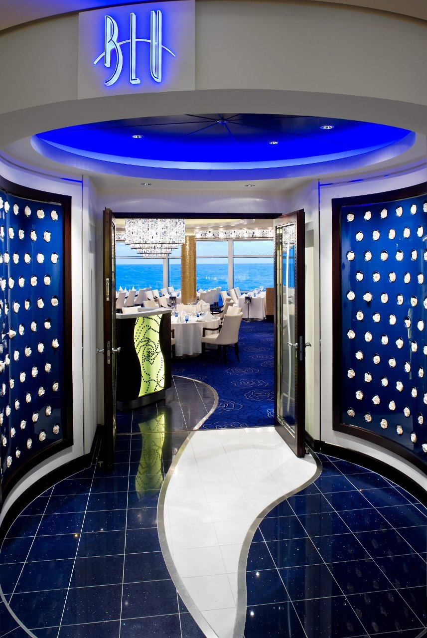 Blu Restaurant Entrance - An exclusive perk of an Aqua Class stateroom is dining in Blu dining room