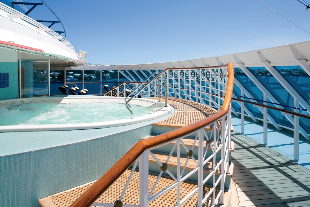 Guests aboard Azamara Club Cruises can book out the entire spa deck to enjoy a night under the stars in a private oasis, complete with jacuzzi.