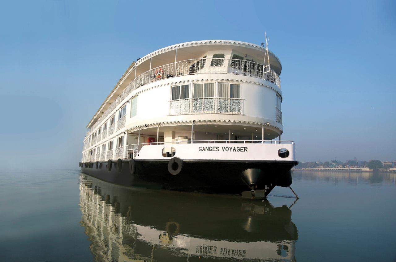 The RV Ganges Voyager travels along the Ganges River in India