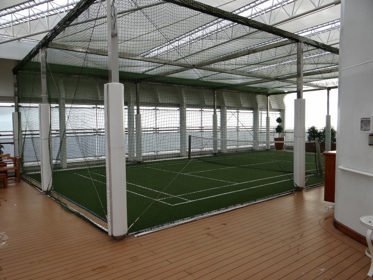 Tennis court ready to go on P&O Pacific Pearl