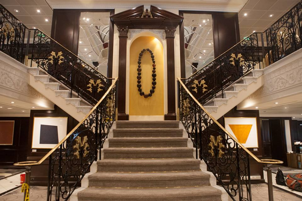 The staircase leading to Guest Relations