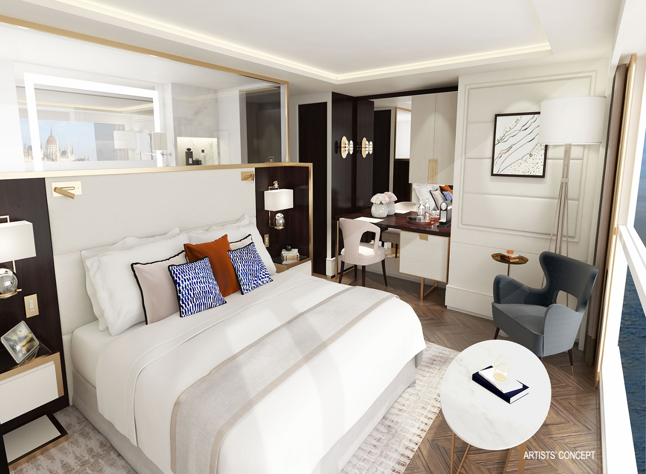 A rendering of how the suites in each of the four Crystal River Cruises vessels will look.