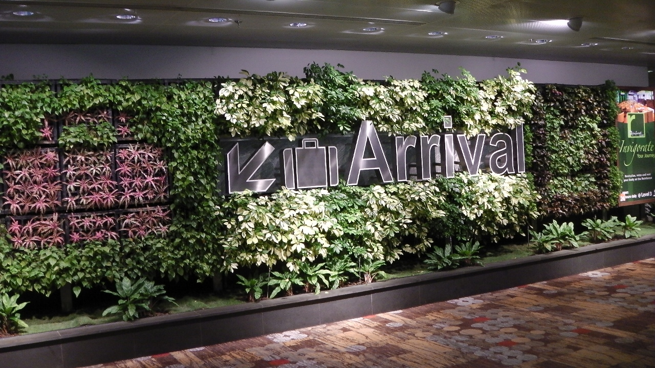 Arrivals to Singapore are greeted with a floral wall