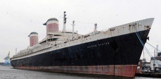 The SS United States remains docked in Philadelphia.