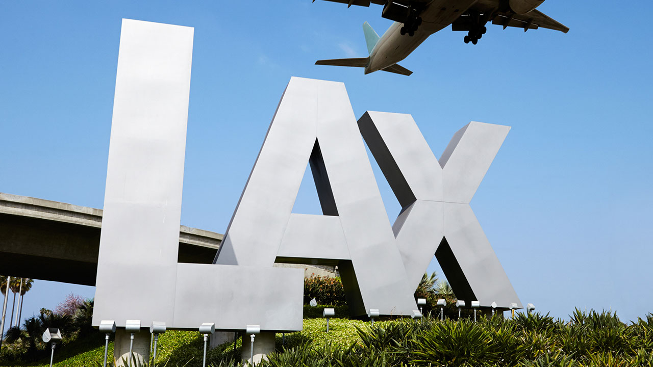 Los Angeles International Airport and its iconic LAX sign.