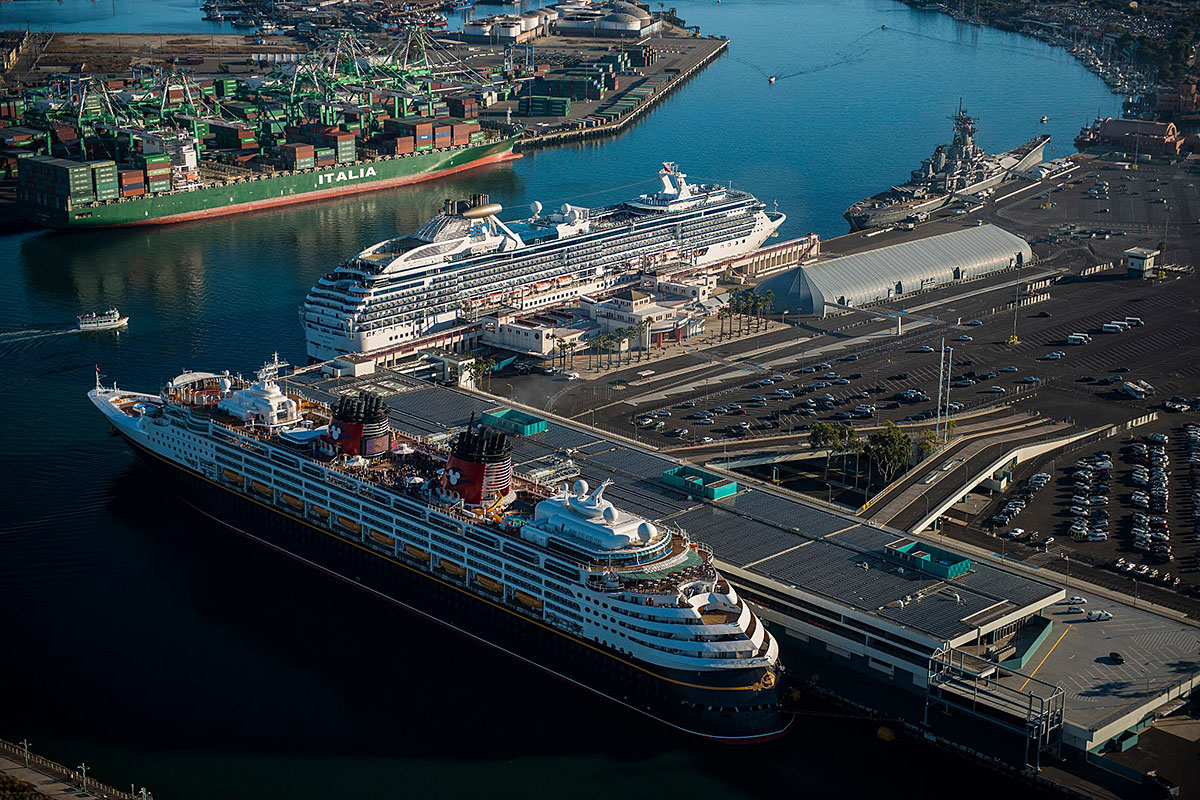Cruise ships docked at Long Beach in Los Angeles.