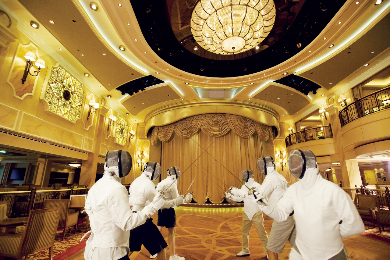Queen Mary 2 guests can learn fencing onboard.