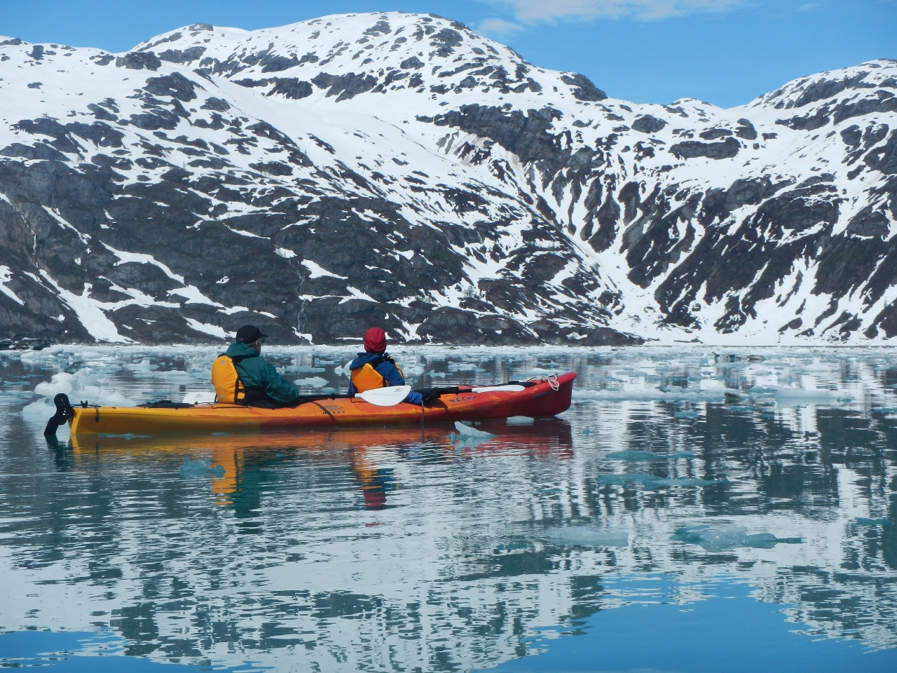 Cruise travellers can go kayaking while cruising in Alaska.