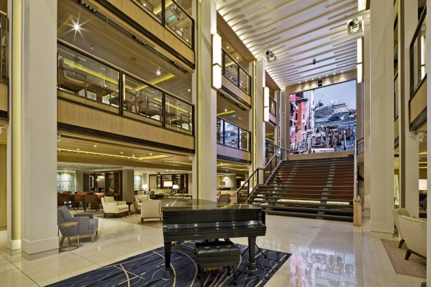 The opulent Central Atrium features on all Viking Ocean Cruises ships.