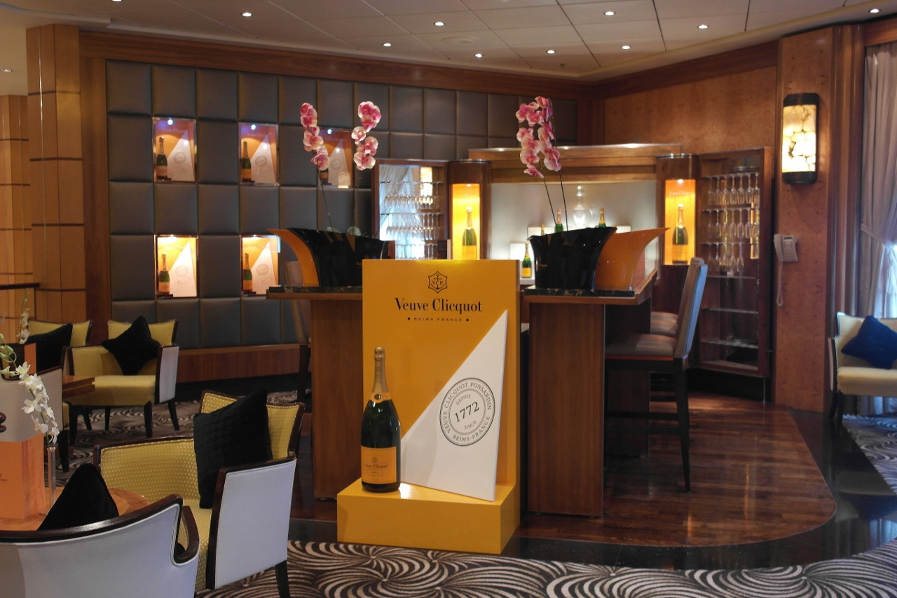 Champagne lovers have a dedicated space at the Queen Mary 2 Veuve Clicquot bar.