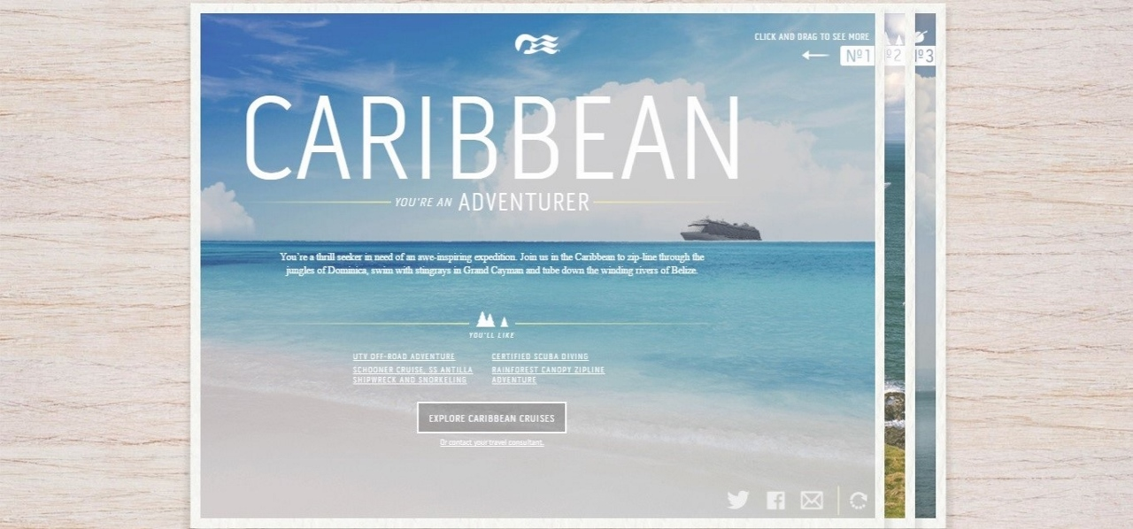 Princess Cruises recommended the Caribbean in its Places to Sea app