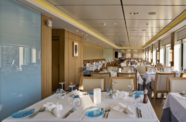 The aptly titled 'Restaurant' aboard Viking Ocean Cruises has seen set dining times eliminated in favour of open seating