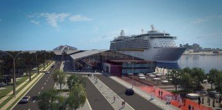 A rendering of a ship docked at the new Abu Dhabi cruise terminal