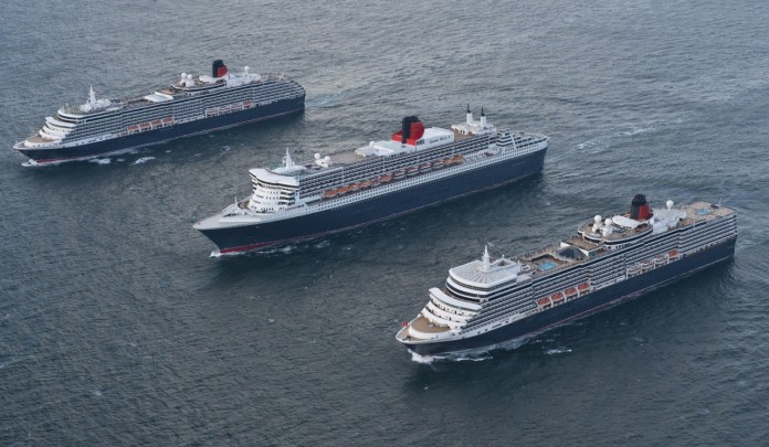 Cunard's Queen Victoria, Queen Mary 2 and Queen Elizabeth all approaching Southampton together.
