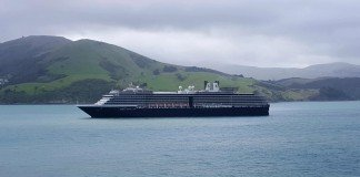 Holland America Line's MS Noordam in Akaroa, New Zealand