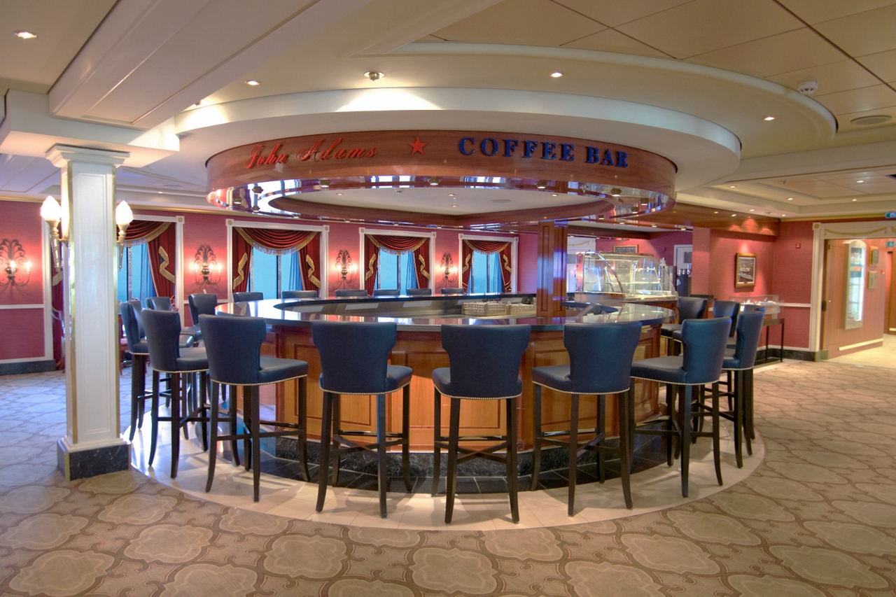 The new look John Adams Bar is a popular spot first thing in the morning on Pride of America.