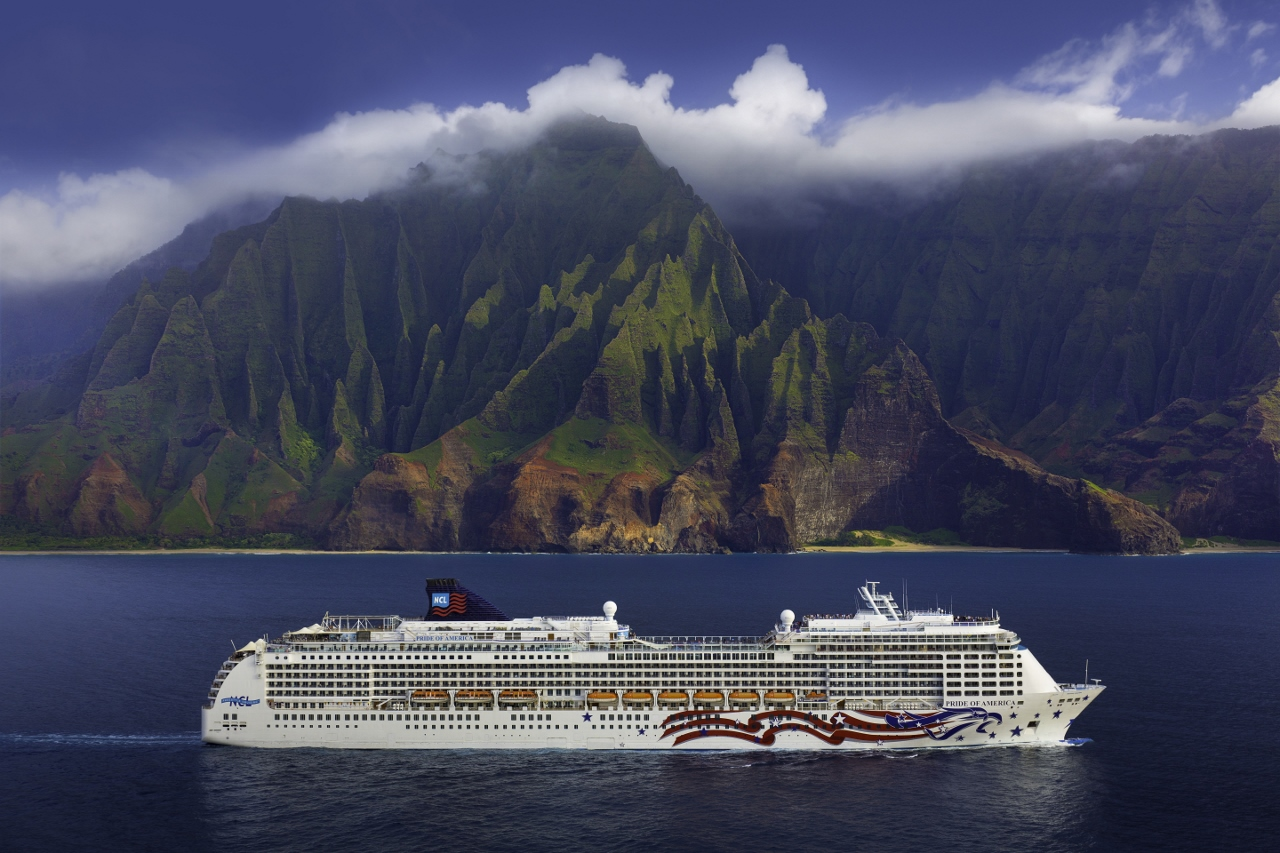 Pride of America sailing along the Napali Coast in Kauai, Hawaii.