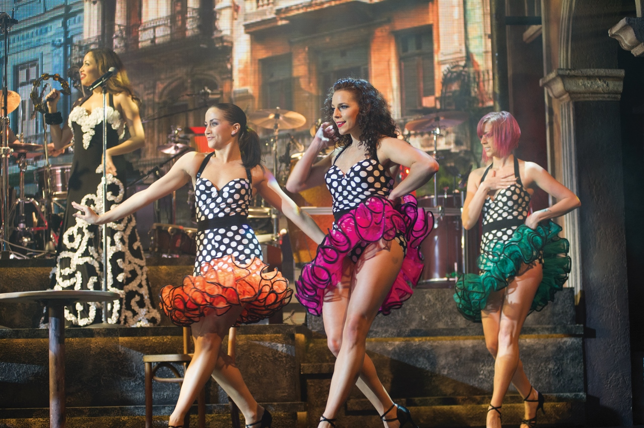 Female performers light up the room in Burn The Floor