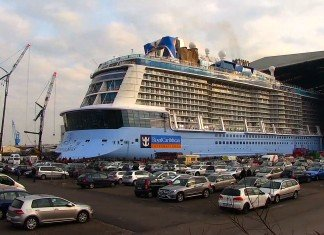 Ovation of the Seas floats out of the shipyard.