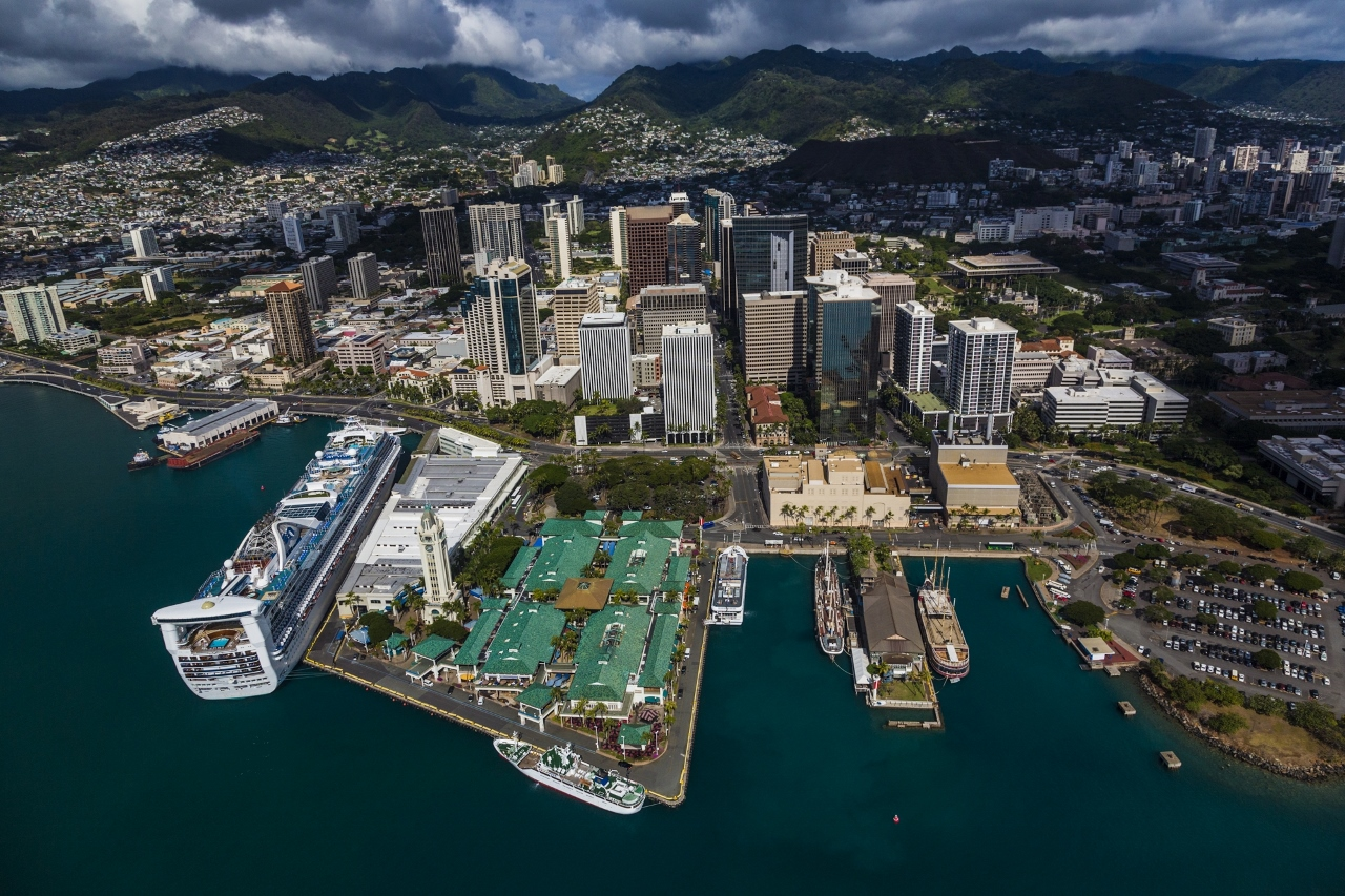 Princess Cruises ship stops for the day in Honolulu.