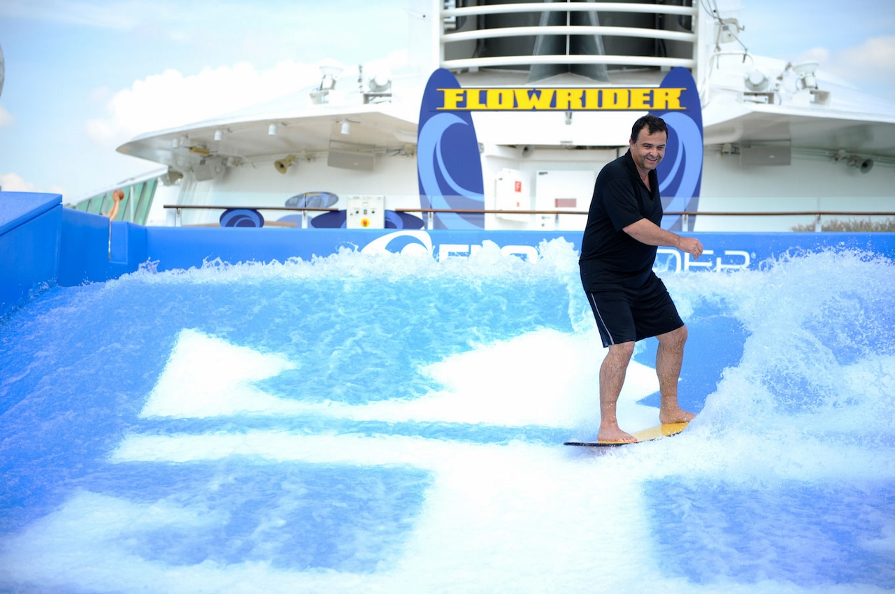 Guests sailing aboard Explorer of the Seas can take advantage of the ship's Flowrider surfing simulator.