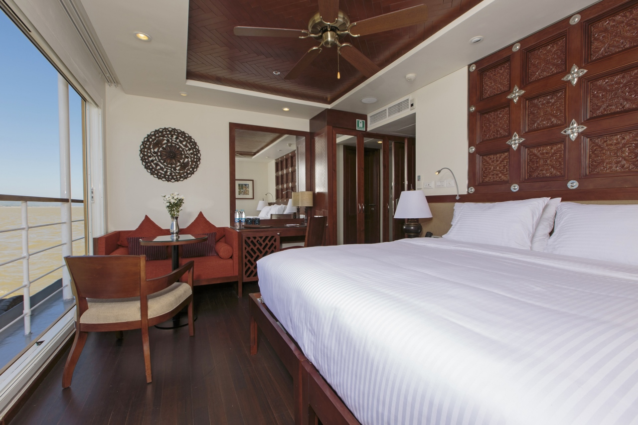 A look at one of the suites on Avalon Waterways' Avalon Myanmar.