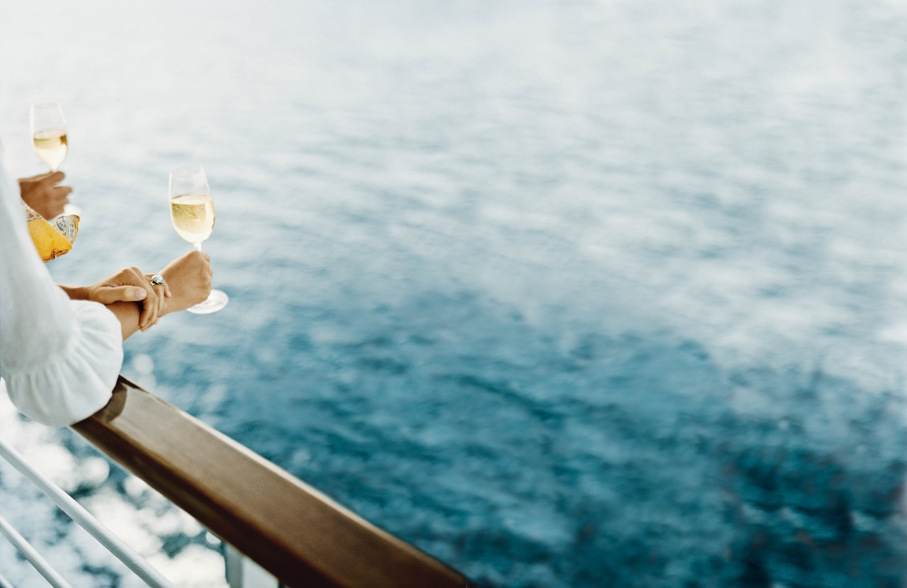 Living the high life with champagne on a cruise ship.