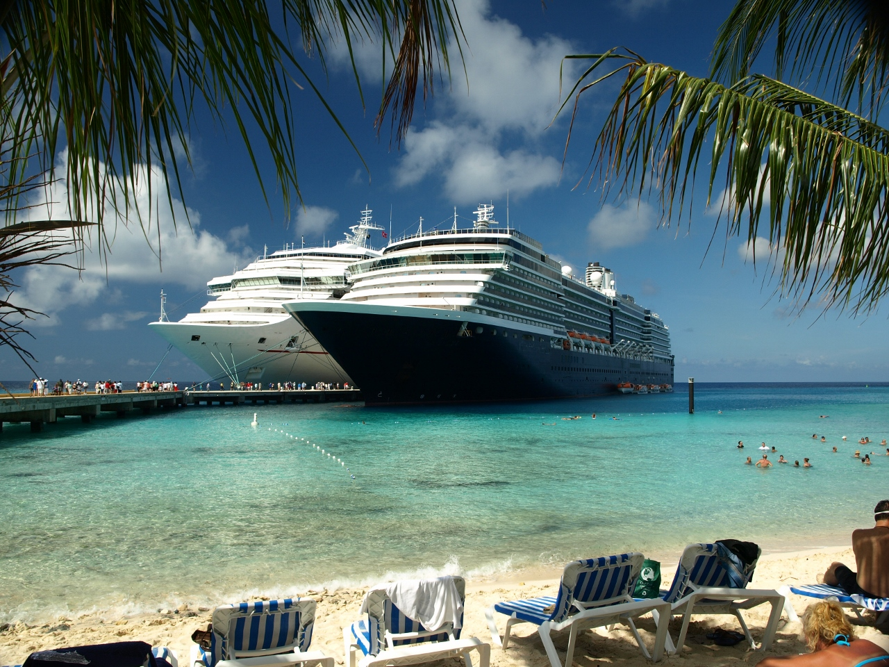 Multiple cruise ships can be found together in Hawaii during peak season.