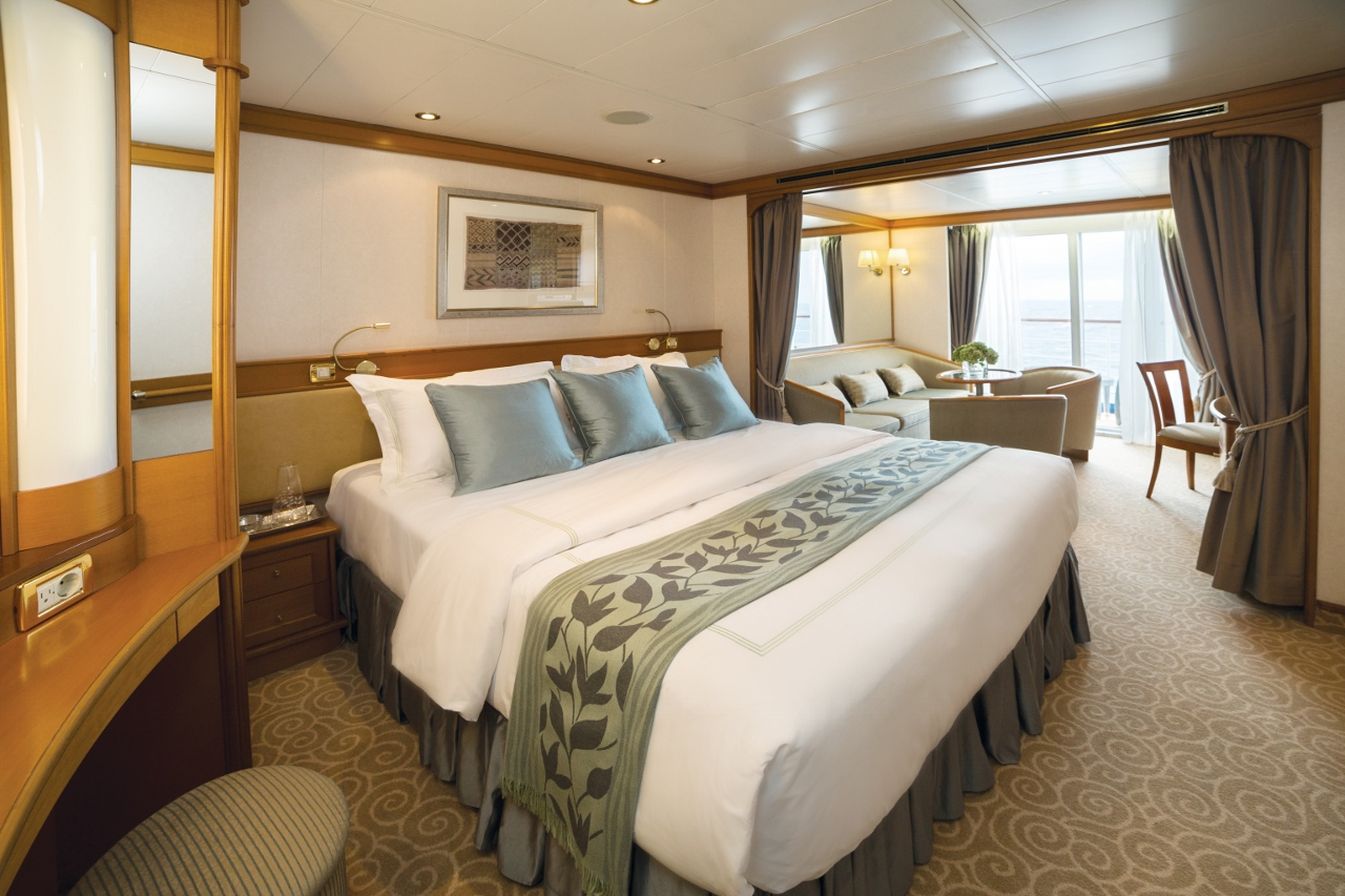 A look at one of the Deluxe Suites onboard Seven Seas Voyager - one of four ships in the luxury Regent fleet.