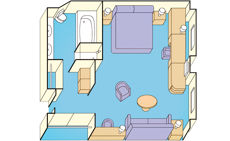 The floor plan of the Window Suite, available on Golden Princess.