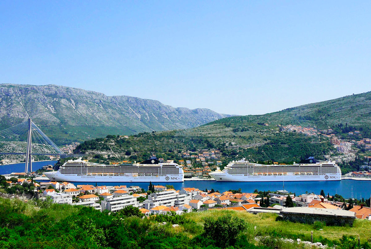 Two MSC Cruises ships meet in Croatia.