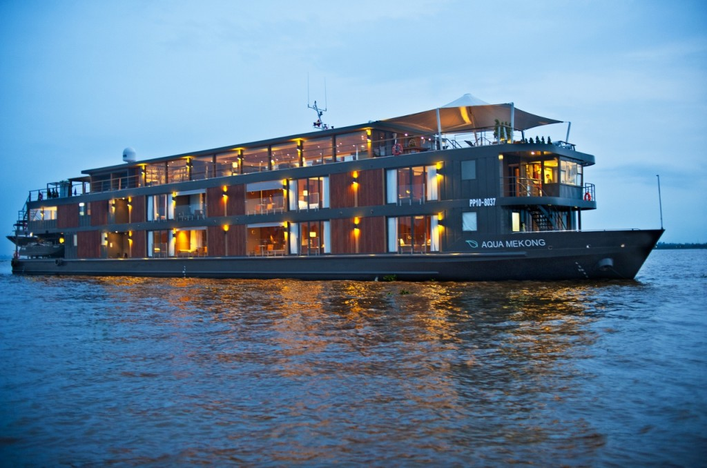 An exterior view of the Aqua Mekong expedition ship.