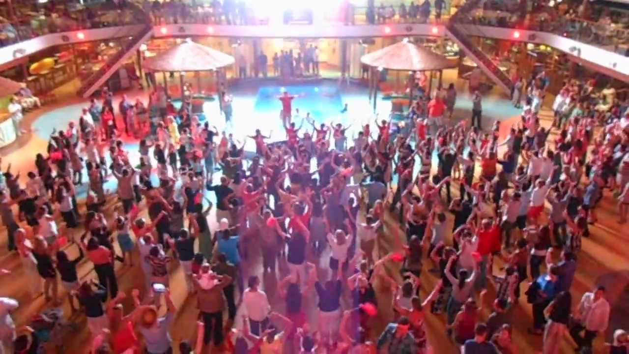 Caribbean dance music plays at Carnival Cruise Line's Caribbean party.