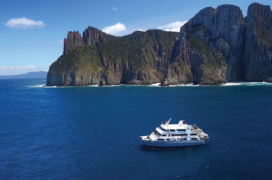 Coral Expeditions sailing off the Tasmanian coast