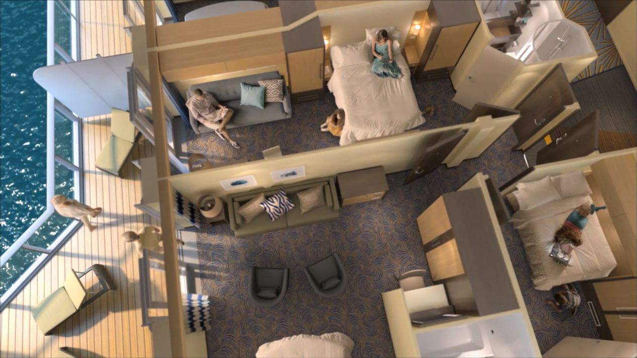 This unique cross section shows how interconnecting cabins work on Royal Caribbean's Ovation of the Seas.
