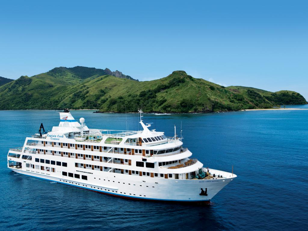 Captain Cook Cruises Fiji sails the islands on the recently renovated 130-guest MV Reef Endeavour.