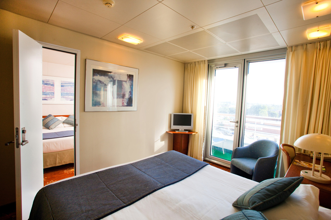 Interconnecting Balcony staterooms aboard Pacific Jewel are a popular choice for families with teenage children aboard P&O Cruises Australia.