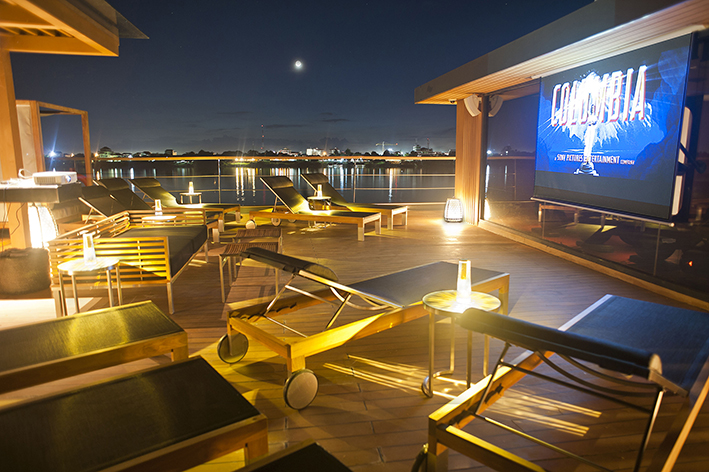 Family movies will play on Aqua Mekong's observation deck.