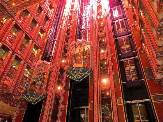 Avoid packed elevators by heading to the Carnival Spirit atrium.