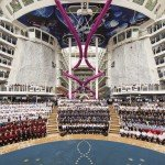 The crew of Harmony of the Seas on their new Royal Caribbean ship.