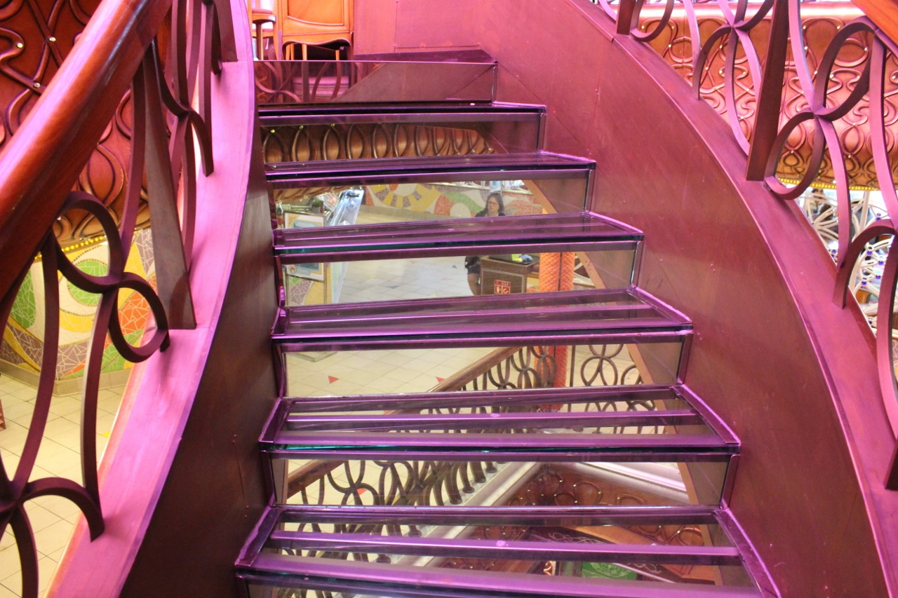 Take the see-through stairs up to Nouveau Restaurant if you dare.