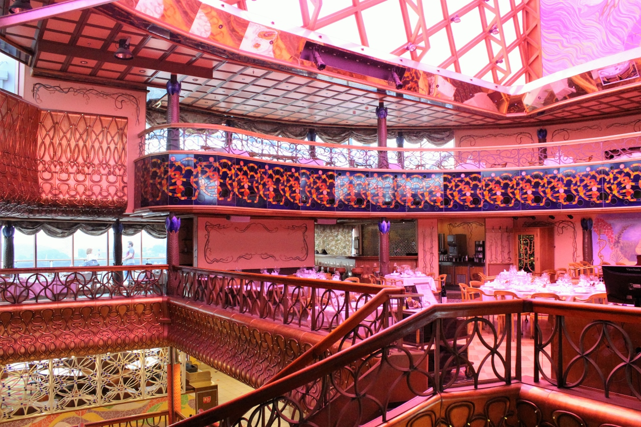 Nouveau Restaurant is on the top deck of Carnival Spirit.