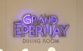 The entrance sign to the Grand Epernay Dining Room
